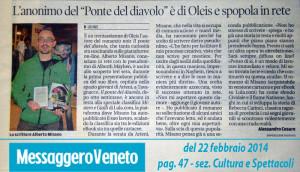 Il Messaggero Veneto del 22 febbraio 2014 parla di Alberth Mayhem (alias Alberto Misano)