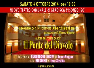 Lo scrittore Alberth Mayhem (alias Alberto Misano) in teatro a Gradisca d'Isonzo (GO)