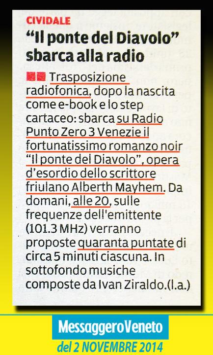 Il romanzo Il Ponte del Diavolo diventa un radiodramma a puntate!