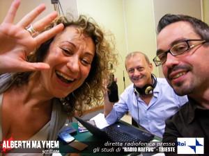Alberth Mayhem negli studi RAI di Trieste con Ornella Serafini e Orio di Brazzano